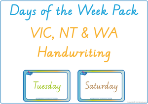 Busy Book Days of the Week completed using VIC Infant Cursive Font