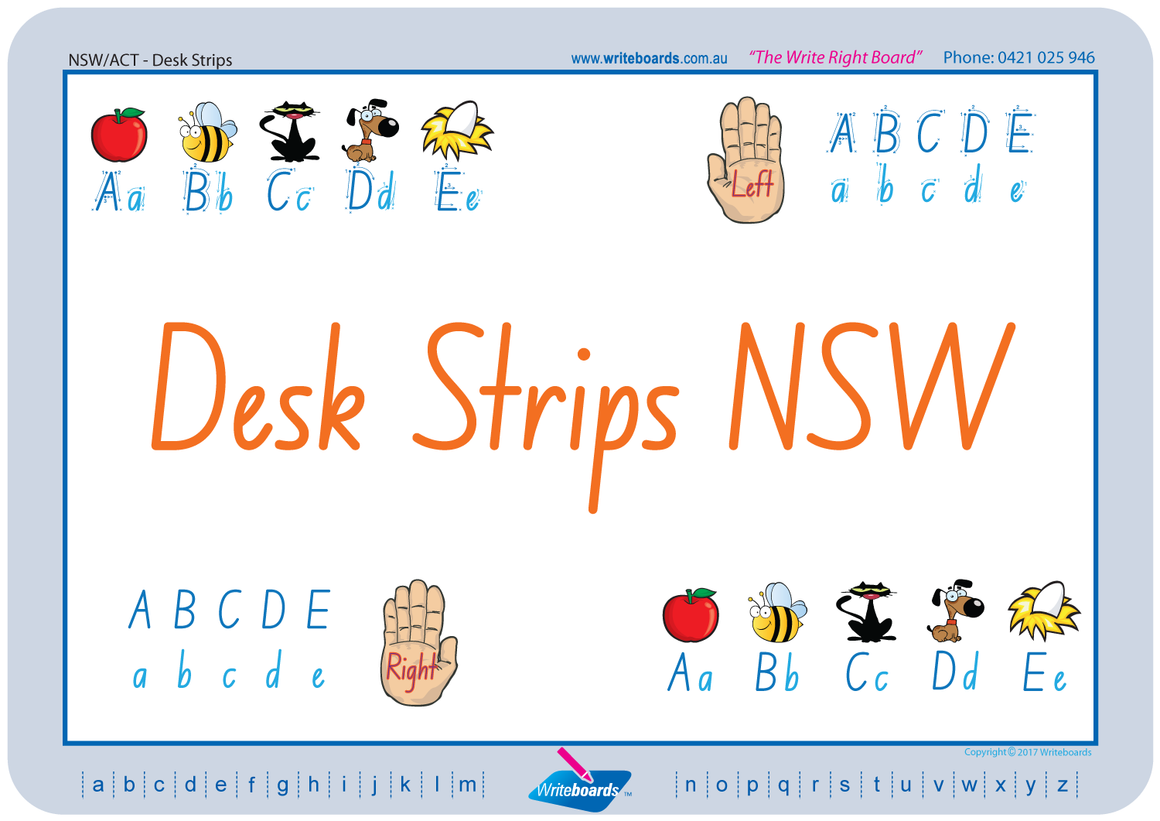 Childcare and Preschool Desk Strips for NSW and ACT, NSW Foundation Font Desk Strips for Childcare
