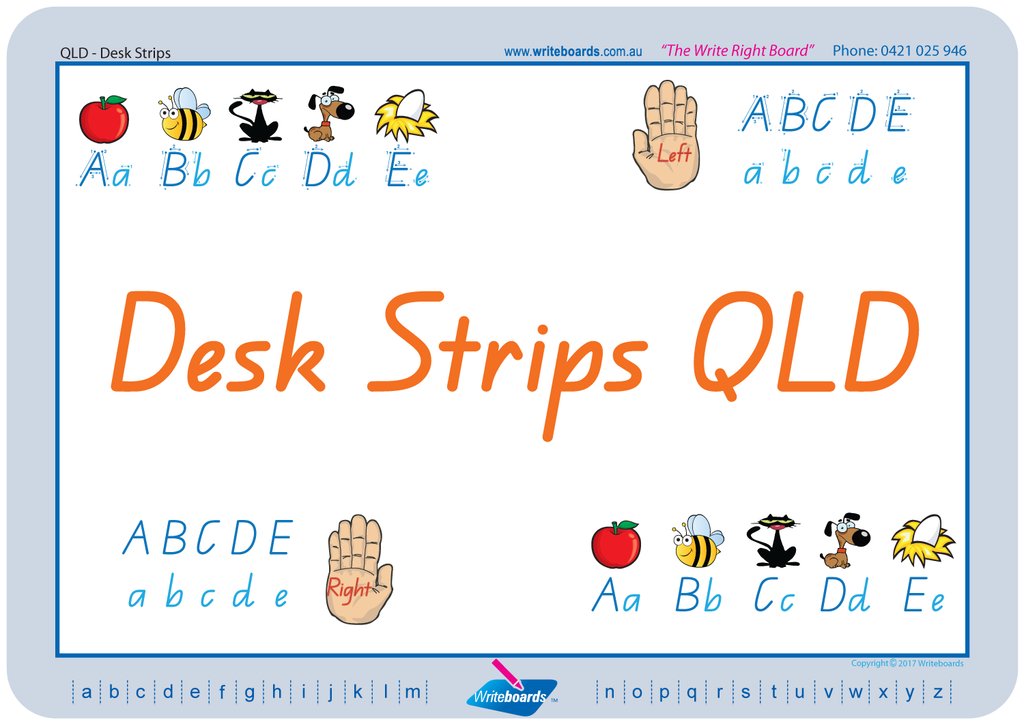 QLD Modern Cursive Font Desk Strips in seven different styles to fit in with your classroom.