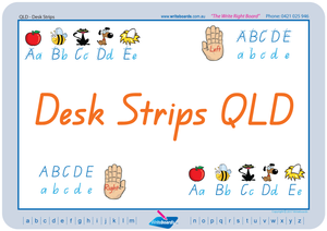 QLD Modern Cursive Font Desk Strips for Tutors, Childcare & Occupational Therapists includes seven different styles