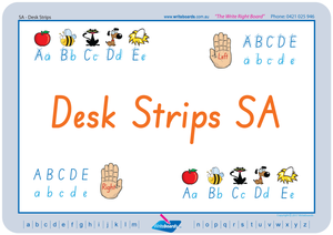 SA Modern Cursive Font Desk Strips for Tutors, Childcare & Occupational Therapists includes seven different styles