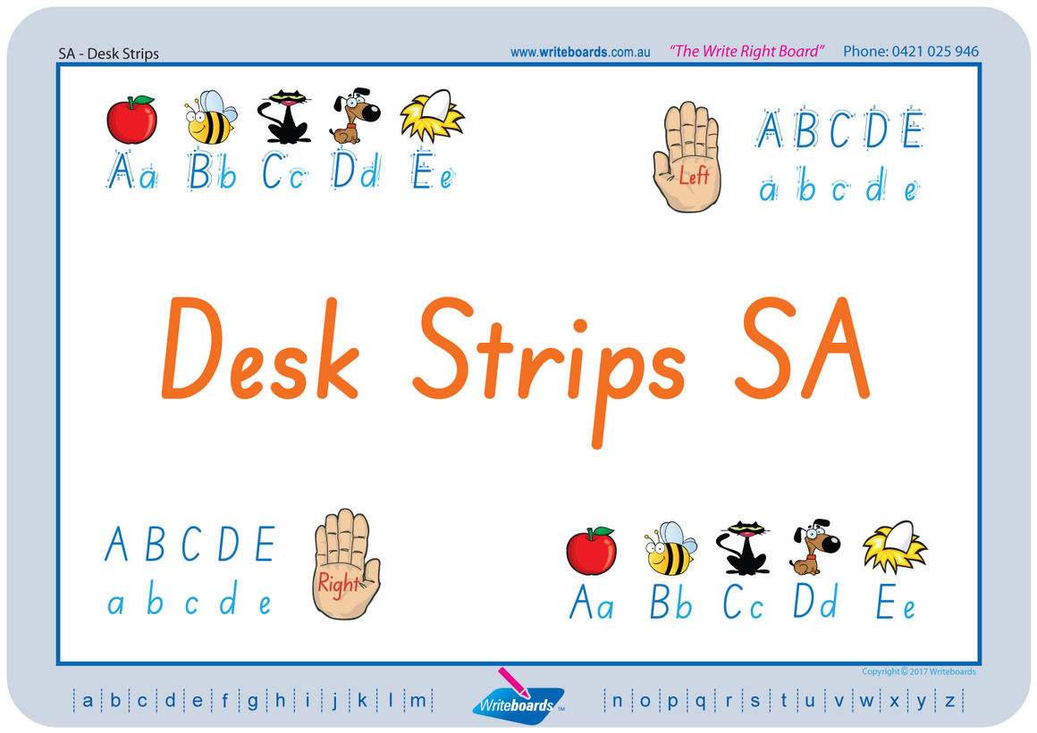 SA Modern Cursive Font Desk Strips in seven different styles to fit in with your classroom.