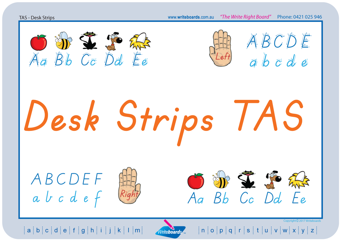 TAS Modern Cursive Font Desk Strips for Tutors, Childcare & Occupational Therapists includes seven different styles