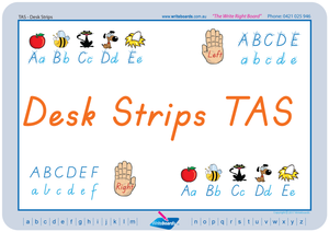 TAS Modern Cursive Font Desk Strips for Teachers, Teachers Reusable Desk Strips TAS Modern Cursive Font