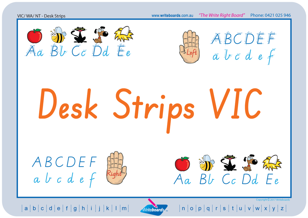 VIC Modern Cursive Font Desk Strips in seven different styles to fit in with your classroom.