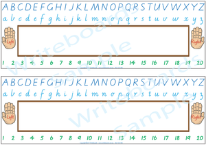 VIC Modern Cursive Font Desk Strips for Tutors, Childcare & Occupational Therapists includes seven different styles