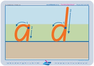 SA Modern Cursive Font Divided Line letter formation tracing worksheets and literacy resources for teachers.