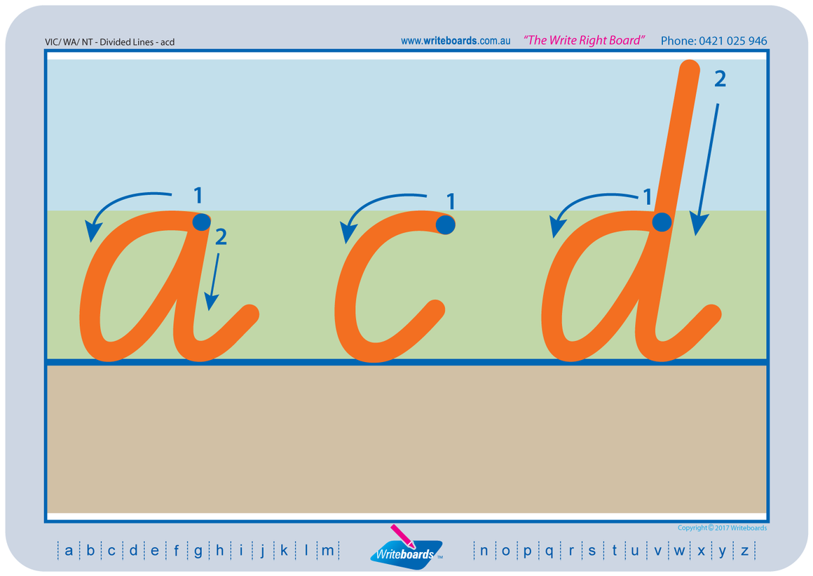 VIC Modern Cursive Font Divided Line Worksheets. Fantastic for Special Needs children!