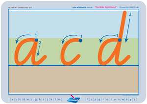 VIC Modern Cursive Font Divided Line letter formation tracing worksheets, VIC Literacy Resources for Teachers