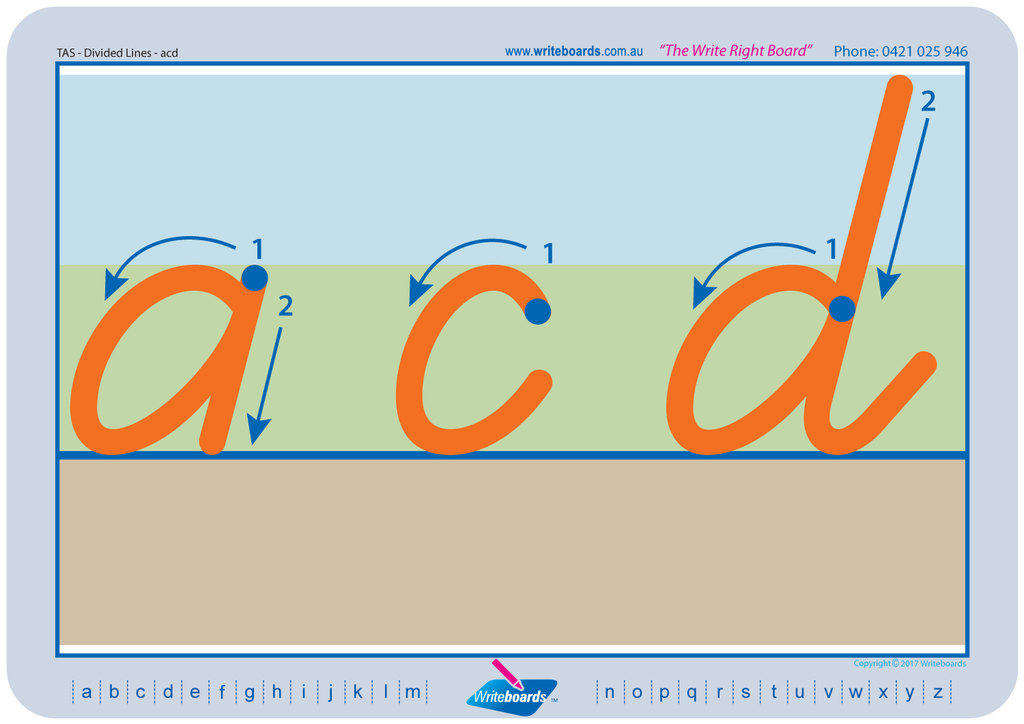 TAS Beginner Font divided line handwriting worksheets. TAS tracing alphabet worksheets.