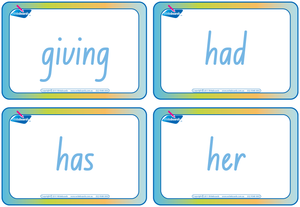 NSW Foundation Font Dolch Words Flashcards completed in NSW and ACT handwriting, Sight word flashcards