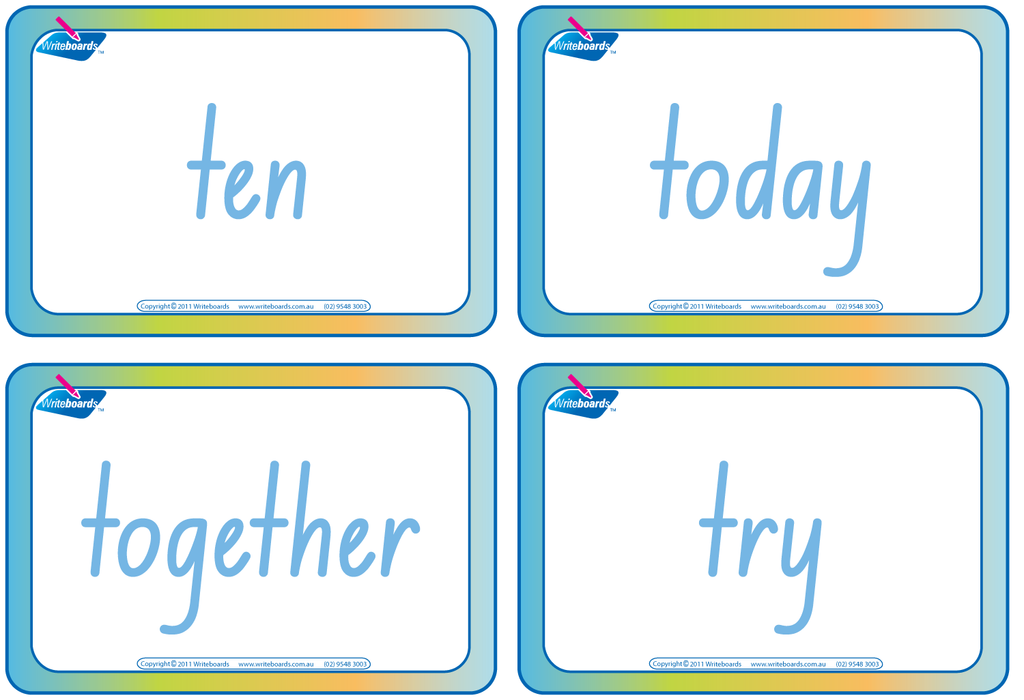 Dolch Words Flashcards completed using NSW Foundation Font handwriting.