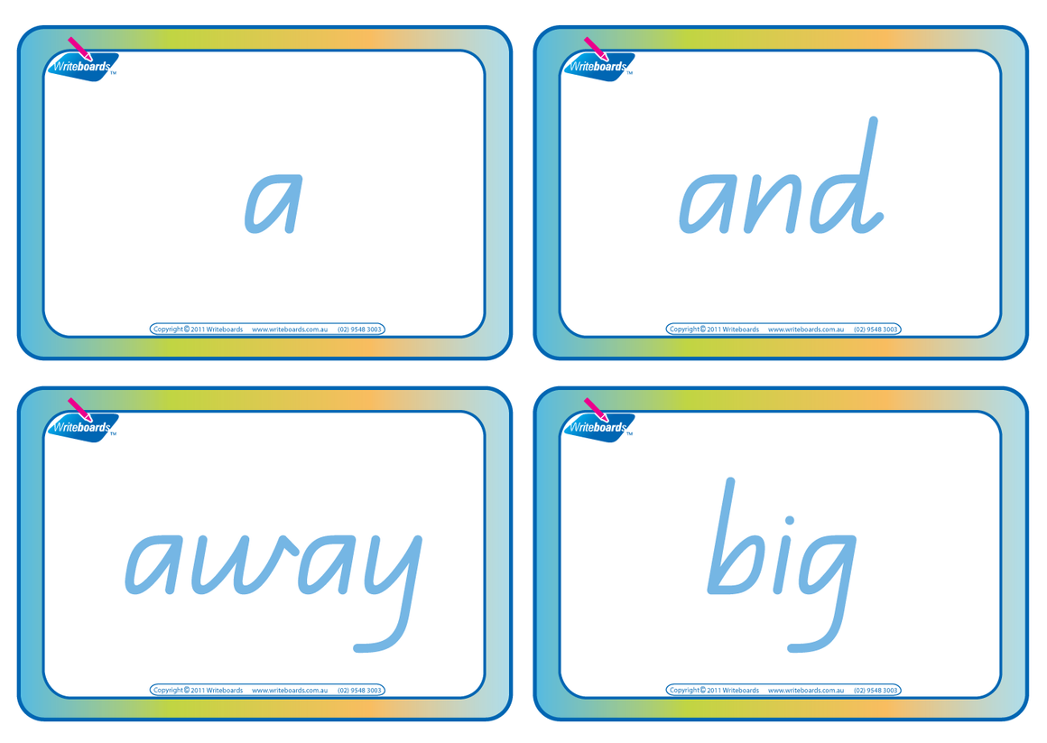 Special Needs Dolch words flashcards completed in QLD Modern Cursive Font, QLD Dolch word flashcards