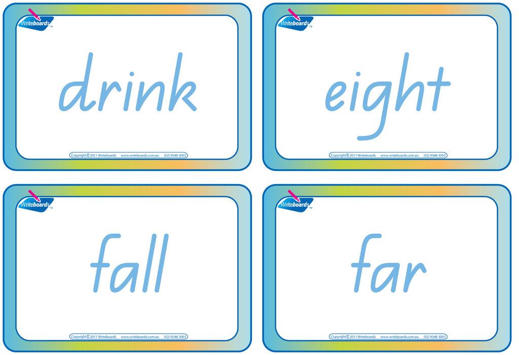 Dolch Words Flashcards completed using QLD Modern Cursive Font handwriting.