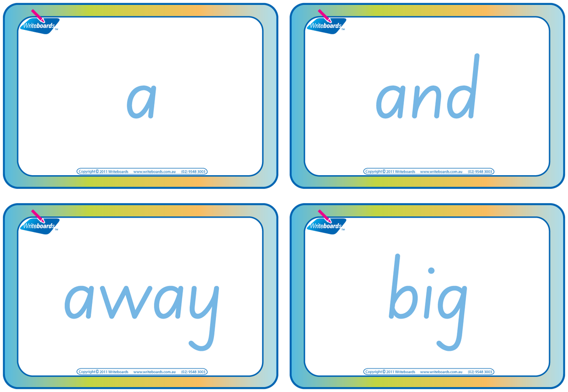 Dolch Words Flashcards completed using SA Modern Cursive Font handwriting.