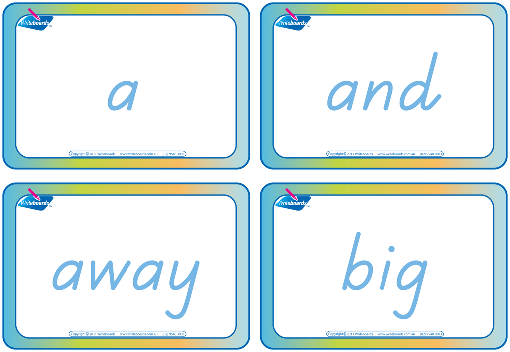 Dolch Words Flashcards completed using TAS Beginner Font handwriting.