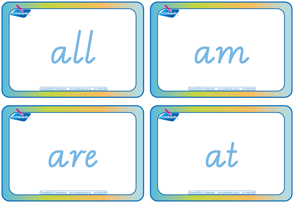 Dolch Words Flashcards completed using VIC Modern Cursive Font handwriting.