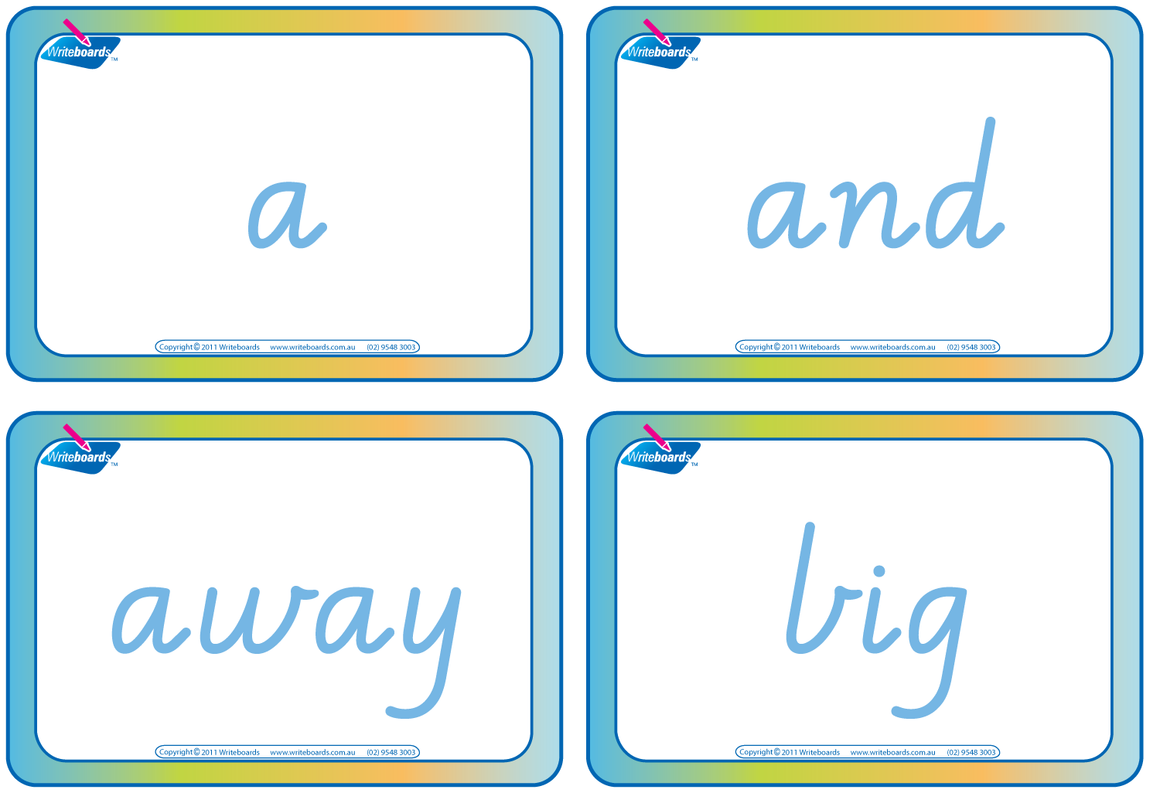 VIC Modern Cursive Font Dolch Words Flashcards. Completed in NT, WA and VIC handwriting.