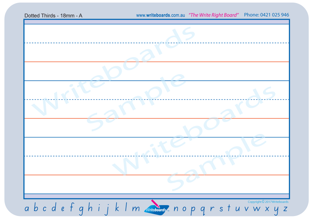Dotted thirds pages with SA Modern Cursive Font reference for easy use created by Writeboards