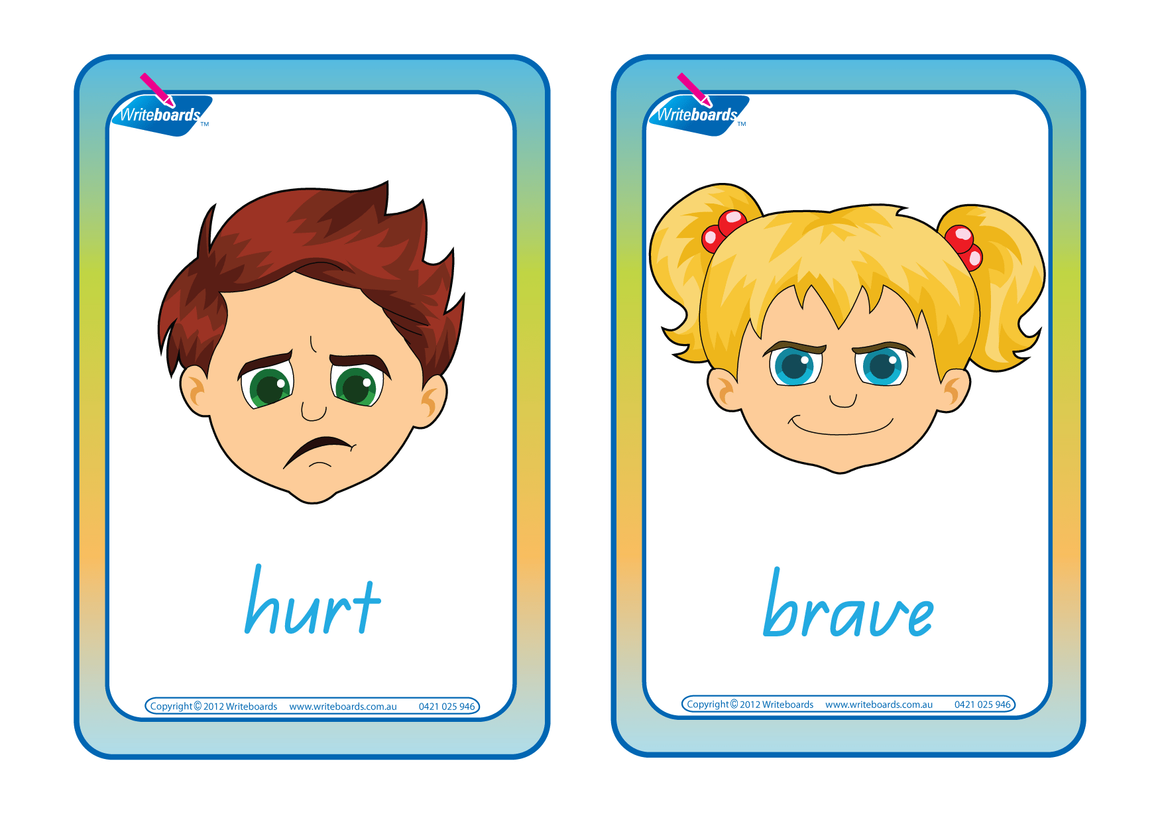 Emotions flashcards containing 24 different emotions using QLD Modern Cursive Font. Great for Special Needs kids.