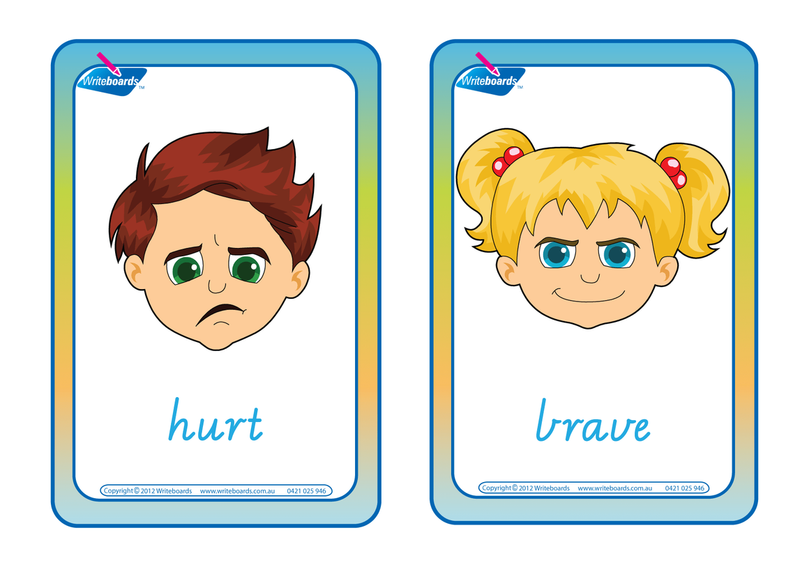 Emotion Flashcards completed in VIC Modern Cursive Font handwriting. Play educational games.
