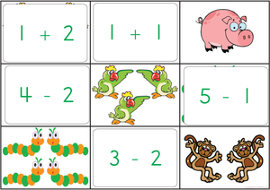 Bat and Ball Addition and Subtraction Bingo Game