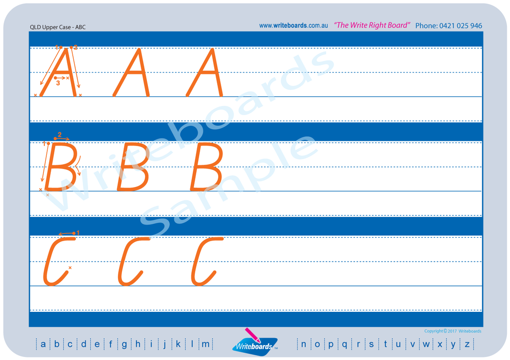 QLD Modern Cursive Font Family Letter Worksheets upper case alphabet.