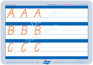 QLD Modern Cursive Font Uppercase Alphabet Worksheets, QLD Modern Cursive Font Uppercase Alphabet Tracing Worksheets