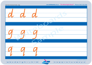 QLD Modern Cursive Font Lowercase Alphabet Worksheets, QLD Modern Cursive Font Alphabet Tracing Worksheets