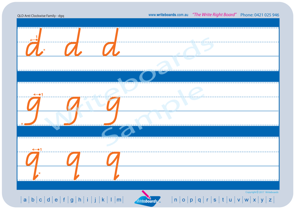 QLD Modern Cursive Font Family Letter Worksheets lower case alphabet.