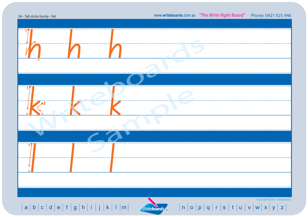 SA Modern Cursive Font Worksheets using Family Letter design, created by Writeboards