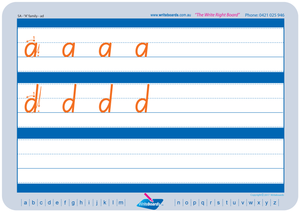 SA Modern Cursive Font Family Letter Worksheets for Occupational Therapists and Tutors