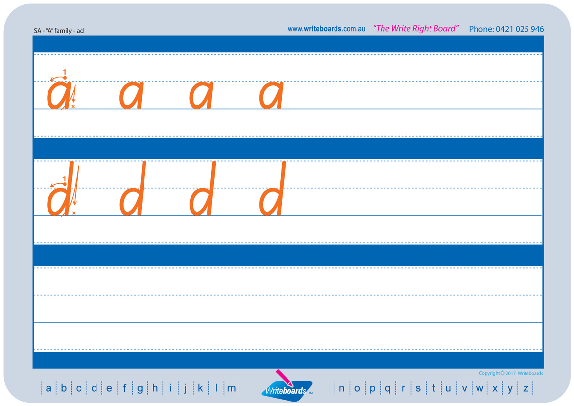 SA Modern Cursive Font Family Letter Worksheets lower case alphabet.