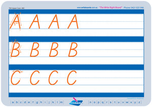 TAS Modern Cursive Font upper and lowercase tracing worksheets for TAS handwriting