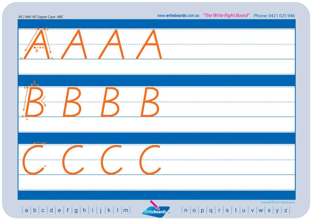 VIC Modern Cursive Font Worksheets using Family Letter design, created by Writeboards