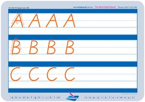 Uppercase and lowercase alphabet worksheets using family groups for VIC Modern Cursive Font. Special needs.