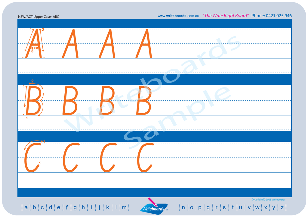 NSW Foundation Font upper case alphabet worksheets with directional arrows.