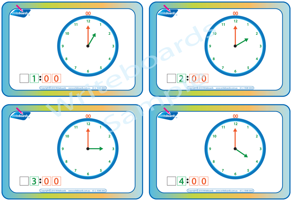 Learn to Tell the Time hourly worksheets and flashcards that are colour coded for ease of use.