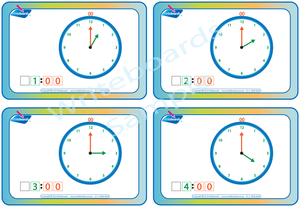 Free Learn to Tell the Time worksheets and flashcards with any purchase from the Writeboards website