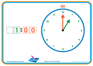 Learn to Tell the Time worksheets and flashcards, Colour coded Tell the Time Worksheets & Flashcards