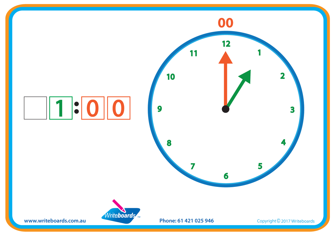 Learn to Tell the Time worksheets and flashcards for kids. Colour coded worksheets, easy to learn. Writeboards.