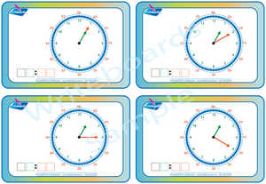 Learn to Tell the Time flashcards and worksheets that teach the time in five minute increments.