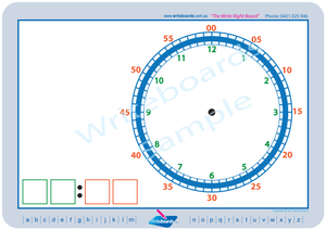 Childcare Resources, Colour Coded Learn to Tell the Time worksheets that teach the time in five minute increments