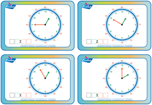 Learn to Tell the Time in five minute increments flashcards for Tutors and Occupational Therapists