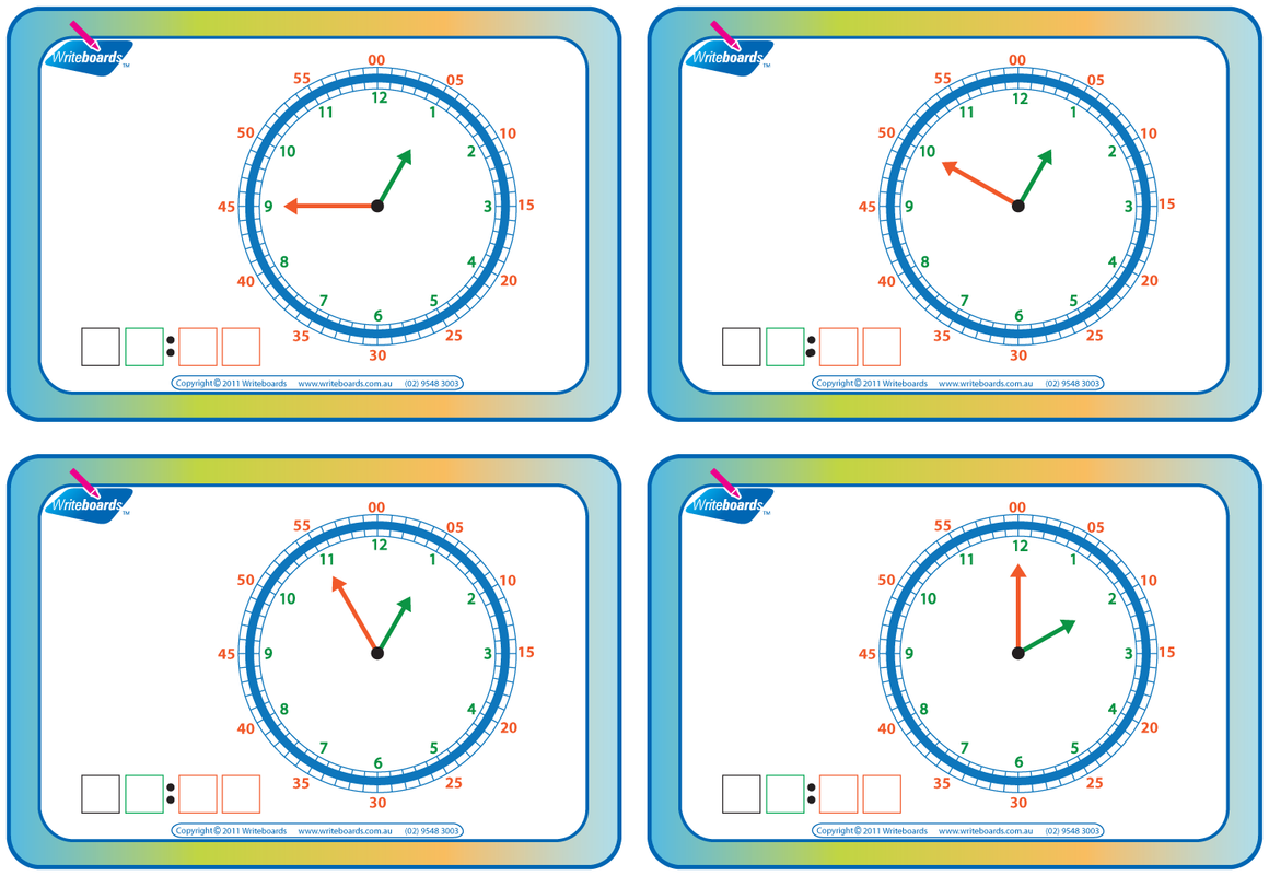 Special Needs learn to tell the time in five minute increments worksheets and flashcards