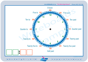 Learn to Tell the Time Worksheets for Kids, Colour Coded Learn to Tell The Time Worksheets