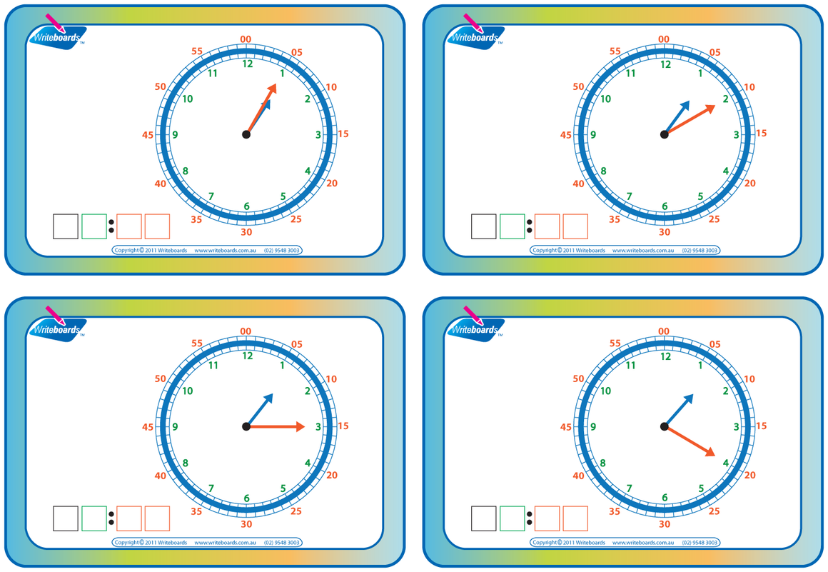 Learn to Tell the Time flashcards for kids. Colour coded flashcards, easy to learn. Writeboards.