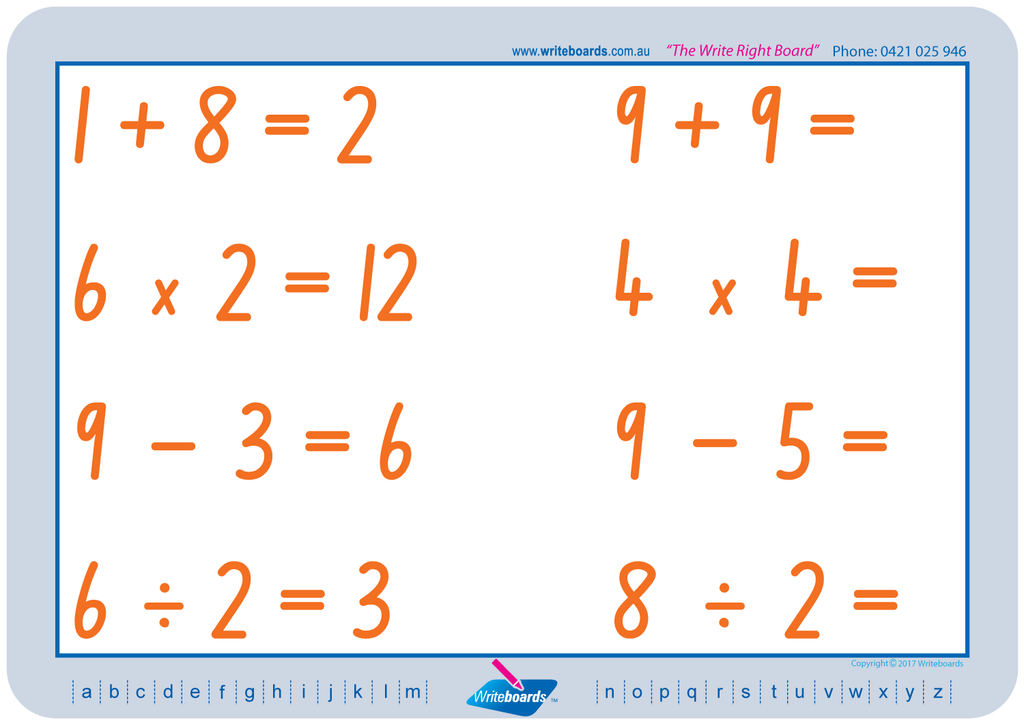 NSW Foundation Font Maths Worksheets. Addition, subtraction, multiplication, and division to twelve. NSW Handwriting.