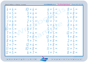 NSW Foundation Font Maths Worksheet from one to 12 using NSW and ACT handwriting