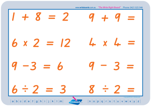 QLD Modern Cursive Font Maths Worksheets. Addition, subtraction, multiplication, and division to twelve. QCursive handwriting.